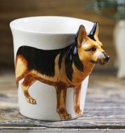 Thai Hand Painted Animal Mug German Shepherd Ceramic Cup