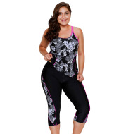 Women's cropped pants printed swimsuit