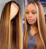 Women's gradient long straight rose net wig set