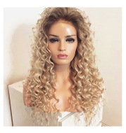 Blonde long curly wig