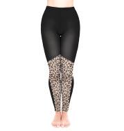 Leopard print European and American cropped pants