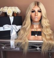 Chemical fiber long roll light golden hair wig