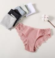 Striped cotton lace panties