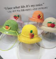 Kids Boys Girls Anti-spitting Protective Hat Dustproof Cover Fisherman Straw Cap Clear Saliva-proof Dust-proof Sun Visor Hat