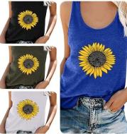 Sunflower print sleeveless T-shirt