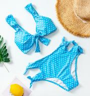 High waist split polka dot swimsuit