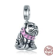 925 Sterling Silver Bracelet DIY Cute English Bulldog Dog