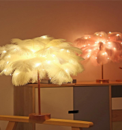 Feather Lamp Nordic Desk Lamp European-Style Bedroom Bedside Feather Table Lamp Night Light Table Lamp Decoration Modern