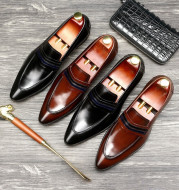 Shallow mouth men's shoes leather shoes