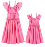 One word shoulder strap lace pleated parent-child dress