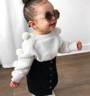 Cotton round neck long sleeve wool ball denim skirt