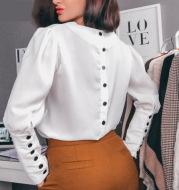 Women's back button solid color V-neck shirt