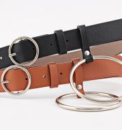 All-match decorative lady belt round buckle belt