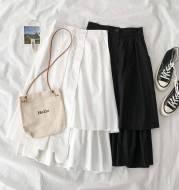 Solid color A-line high waist skirt
