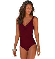 Solid color one-piece bikini