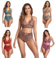 Leopard print sexy bikini split swimsuit