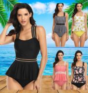 Skirt-style split swimsuit female digital printing