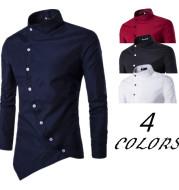 Long sleeve shirt with diagonal placket