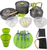 Camping teapot portable aluminum alloy field cooker set
