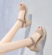 Women's sandals with buckle in platform