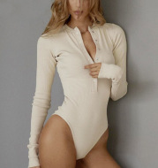 Long-sleeved pit stripe jumpsuit