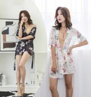 Allure Chiffon Bathrobe Pajama Set