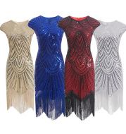 Fringed braid sequin dress