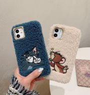 Plush cartoon embroidered mobile phone case