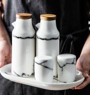 Ceramic marbling oil bottle soy sauce bottle seasoning jar