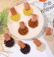 Geometric woven wood vintage earrings