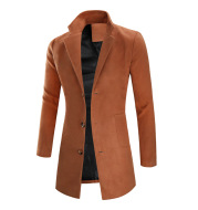 Men's fashion mid-length coat simple solid color trench coat