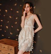 Side slit bath robe sexy lace dress home service