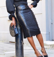 Women's stretch leather skirt