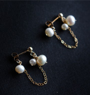 Freshwater Pearl Fringe Stud Earrings