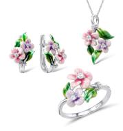 Flower Enamel Color Pendant Epoxy Earring Ring