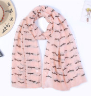 Bat print Paris yarn scarf