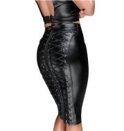 High-waisted PU patent leather hip skirt