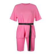 Solid color loose casual T-shirt short two-piece suit