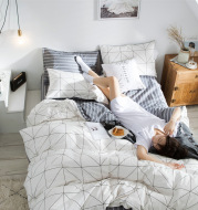 Cotton four-piece bed-lily print fashion simple cotton
