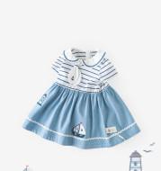 Baby blue striped short sleeve dress