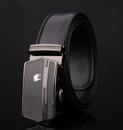 Leather business belt with automatic buckle