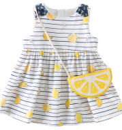 Lemon print pleated dress