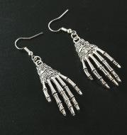 Halloween Vintage Carved Skull Skeleton Hands Earrings