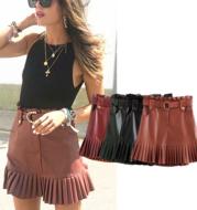 PU leather pleated skirt