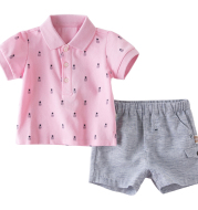 Baby cotton short sleeve shorts suit