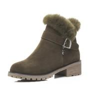 Real rabbit side zipper boots