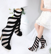 Cool boots fish mouth high heel women's shoes