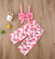 Girls' floral top tube top small floral pants