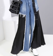 Jeans stitching chiffon wide-leg pants