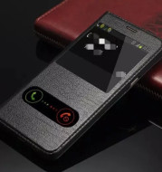 Clamshell leather phone protective leather case
